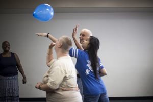 Participants Playing Balloon Lava Game