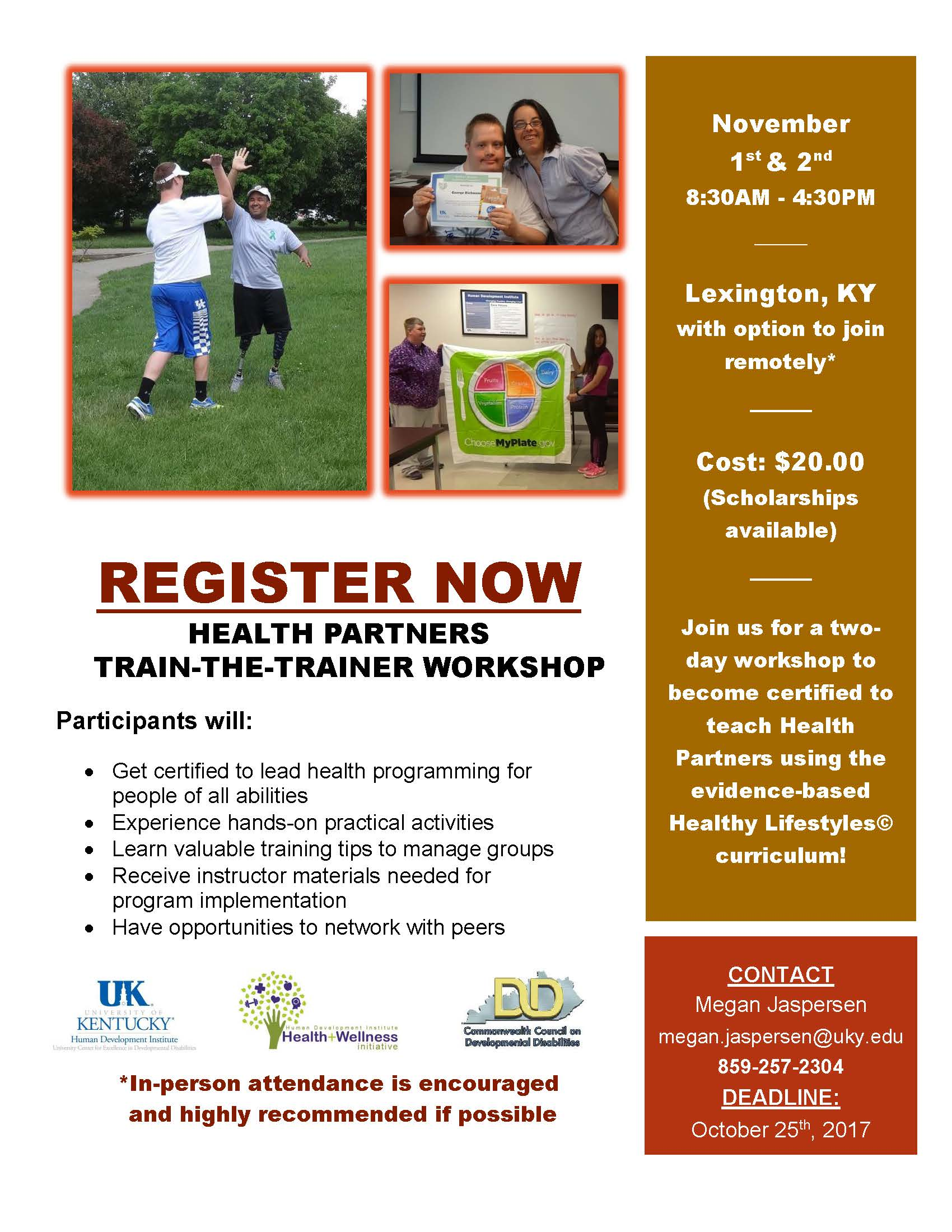 Health Partners training workshop flyer