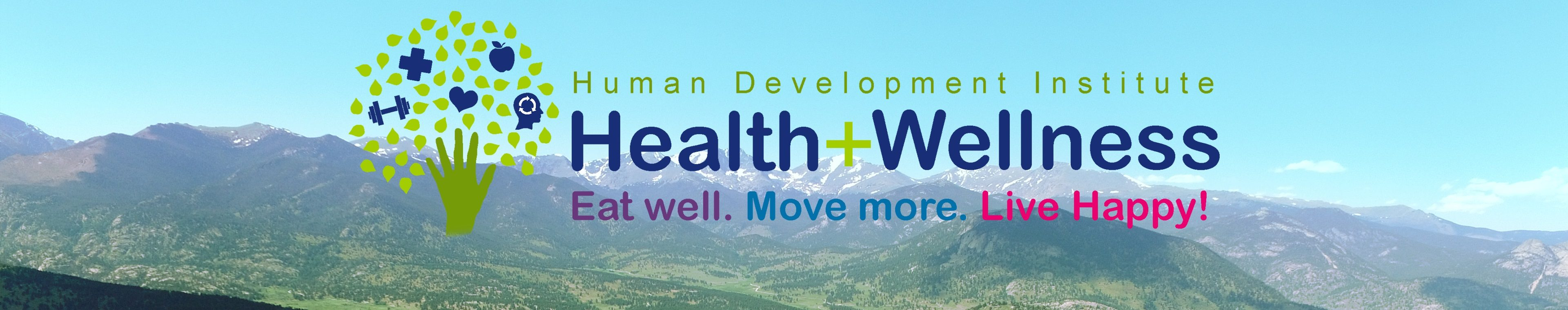 Health and Wellness header image with logo and mountains