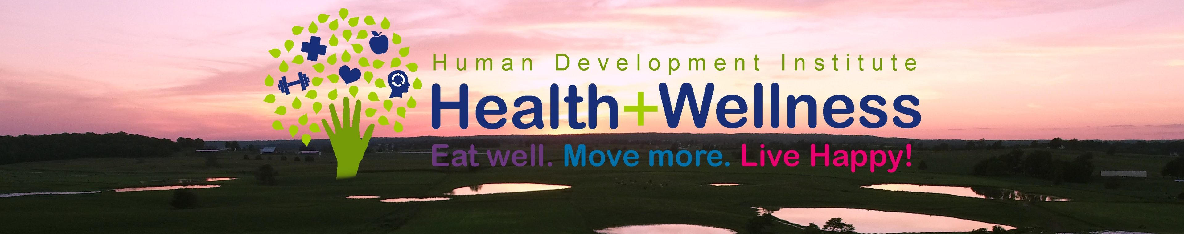 Health and Wellness header image with logo and sunset