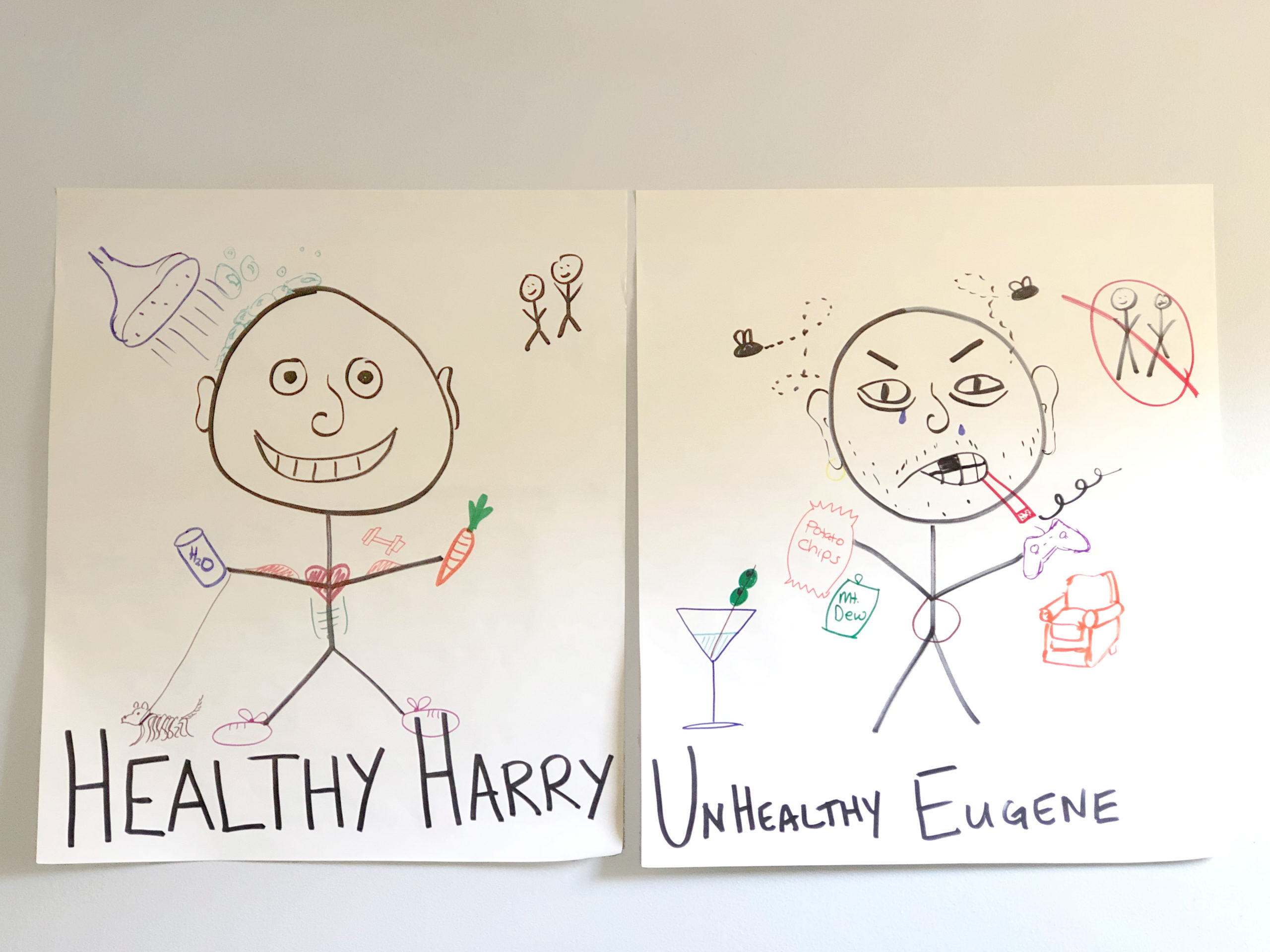 Stick figure representing someone with healthy habits and another stick figure representing someone with unhealthy habits